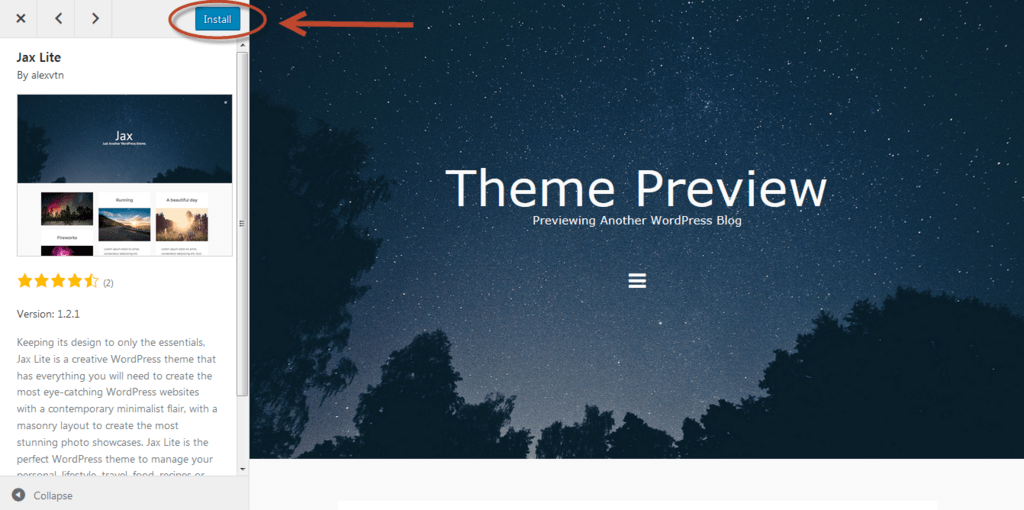 install a wordpress theme preview image